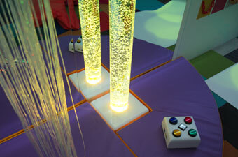 Interactive Bubble tube and fibre optic lights