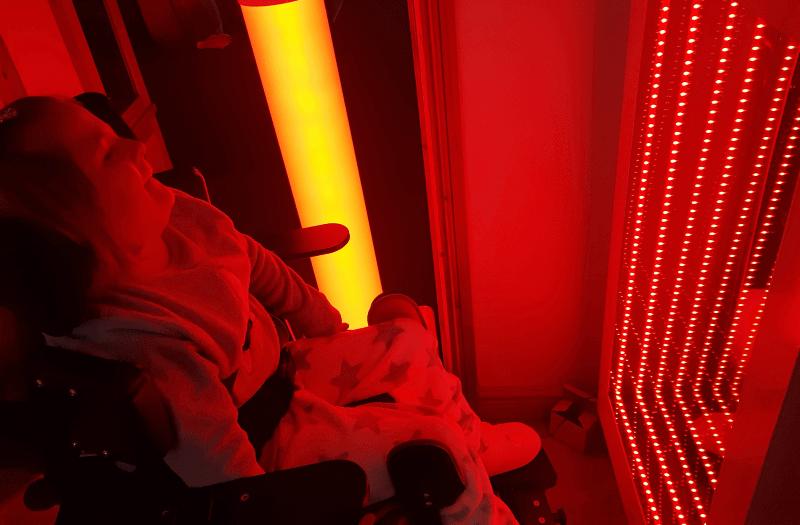 Talia with sensory equipment